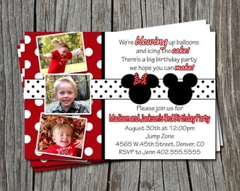 Twins Custom Red Polka Dot Mickey & Minnie Mouse Inspired for Boy and Girl Birthday Party Invitation Card   - You Print