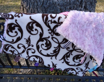 Tag Blanket for Baby Cream Minky with brown swirl print and Pink Rosettes plush minky