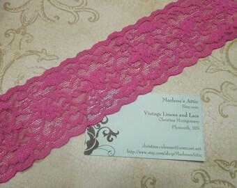 1 yard of 2 1/4 inch Raspberry Rose Pink Stretch elastic lace trim for bridal, baby headband, lingerie, garter by MarlenesAttic - Item SS2