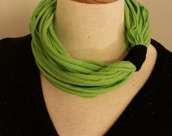 Recycled T Shirt Loop Scarf Lime Black
