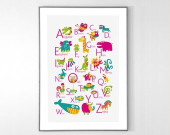 ENGLISH Alphabet Poster with animals from A to Z, BIG POSTER 13x19 inches
