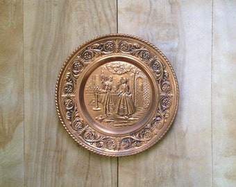 Vintage Copper Plate - Made In England - Mid Century