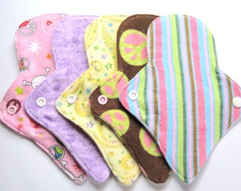 "8"" Breathable Flannel Thong Pantyliners - Set of 6 - Customize Your Fabrics - Flannel Backing with No PUL"