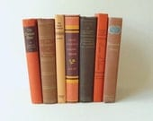 Vintage Books, Brown, Tan, Orange, Earthtones, Fall Colors, Set of 7 Hardcover Books, Instant Library, Home and Wedding Decor, Centerpieces