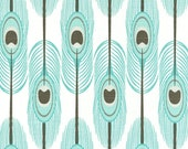"""TWO Curtain Panels, 25"""" x 84"""" - Mint Feathers with Brown and Green Accents on a White Background"""