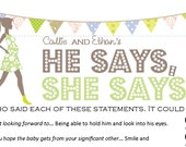 He Says She Says - Unique Printable Baby Shower Game with Chic Mama