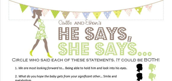 Items similar to he says she says unique printable baby shower game