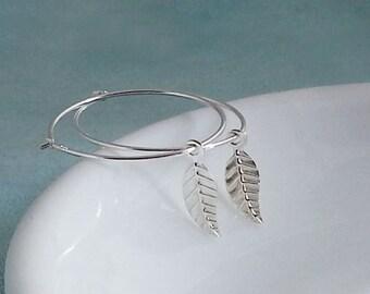Sterling Silver Leaf Hoops Earrings. Dangle Earrings. Simple Everyday Jewelry. Christmas Gift