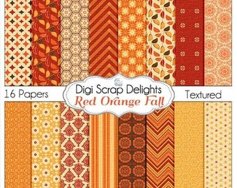 Red Orange Fall Digital Papers for Autumn Digital Scrapbooking, Chevron, Stripes, Card Making, Photographers, Web Design, Instant Download