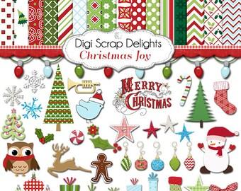 Christmas Clip Art  Digital Scrapbook Kit Papers Snowman, Reindeer, Cards, TpT, Instant Download