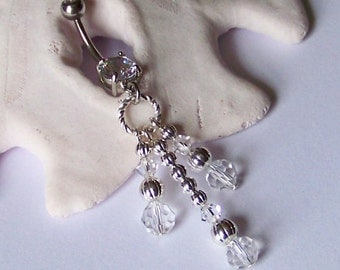 Belly Button Ring - Belly Ring - Belly Button Jewelry - Crystal Dangle Belly Ring - READY TO SHIP