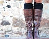 Black Boot Cuffs with Black Lace, Women legwarmers. Boot socks, legwarmers. Handmade soft organic  knitting.
