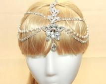 Wedding Rhinestone Crystal Bridal Tiara, Pearl Draping Hair Tikka, Chain Pageant, Pearl Hair Chain, Wedding Hair Clips, Vintage Hair Wrap
