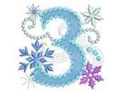 Ice Princess Number 3 Frozen Happy Birthday Cloth Decor Applique Machine Embroidery Design for Girls HB030