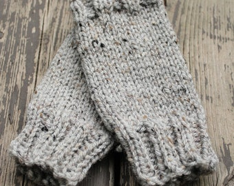 Bayport Mitts - hand knit heathered grey fingerless mitts