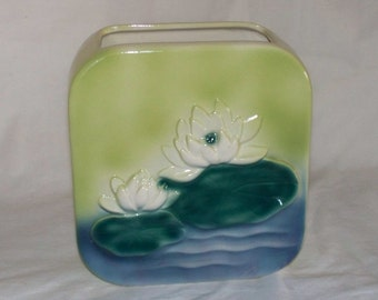 Square Ceramic Planter with Water Lillies Vintage