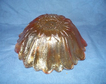 Indiana Glass Marigold Iridescent Carnival Glass Bowl Lily Pons Pattern Vintage