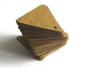Set of 100, Gift Tags, 45MM x 45MM x 43MM, Kraft Triangle Tags