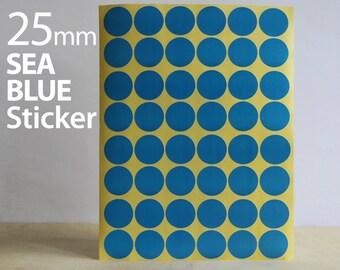 Set 624, Sea Blue Circle sticker 25mm