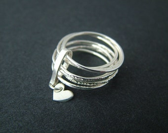 Sterling silver seven band ring. Stacking ring, banded heart, textured ring