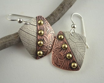Dangle Metal Earrings - Mixed Metal Earrings - Copper Earrings