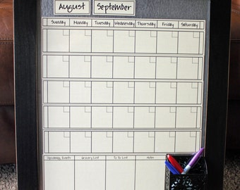 Medium CREAM Dry Erase Perpetual Calendar -- **You pick Frame Color & Font