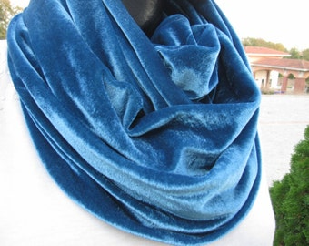 Velvet infinity scarf,Solid petroleum blue velvett loop,circle scarf - 2016 woman Fashion- women's scarves-accessories scarves-gifts for her