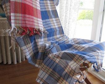 Red navy blue classic plaid linen cotton blend -Peshtemal Turkey-Turkish beach towel- soft Bath Hamam,Yoga,Spa picnic camp cloth