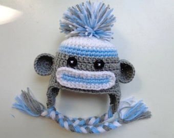 Newborn Boys Crochet Sock Monkey Hat- Blue and Gray- Photo prop- baby Boy baby Girl