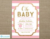 Gold and pink Baby Shower Invitation - Gold Glitter invitation - Oh Baby - Girl Baby Shower - Baby Shower Printable - Baby Sprinkle