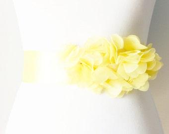 Bridal Couture - Yellow Chiffon Flowers Ribbon Sash Belt - Wedding Dress Sashes Belts - Lemon Yellow