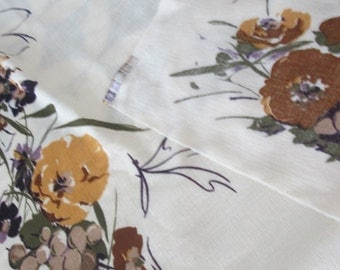 loomsilk Inc, fabric piece, yellow brown floral.