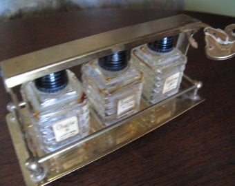Tantalus, Perfume Locked Box, Brass with Heart Lock & Key, 3 Small Perfume Bottles, Chypre, Gardenia, Bouquet, Cardial New York, Brass Cage