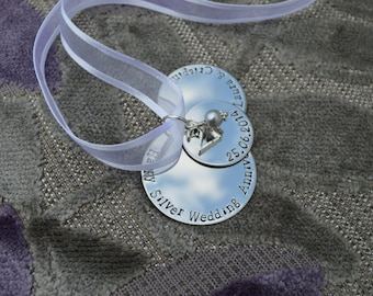 Silver Wedding Anniversary, 25th Anniversary, Hand stamped metal ornament, stacked discs, personalise