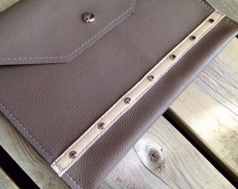 Slate Grey Leather iPad Case -Soft Leather Cover - One Of A Kind - Handmade - Gifts for Her