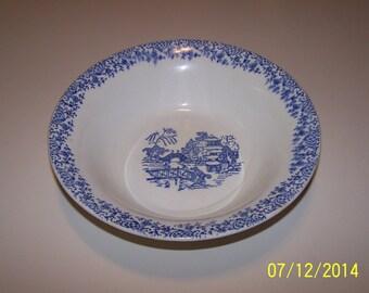Serving Bowl with blue Japanese design