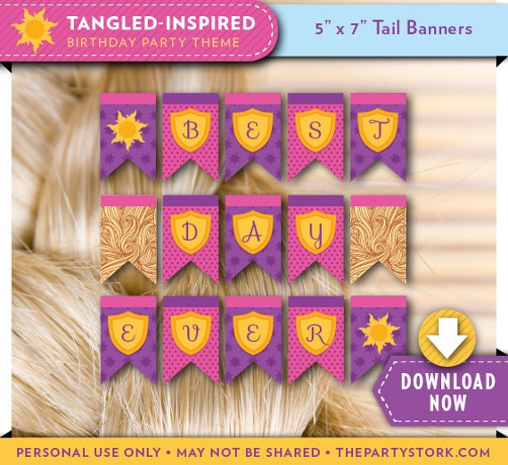 Tangled Banner Tangled Birthday Party Printable Tangled