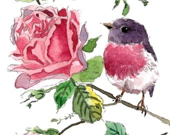ACEO Limited Edition 11/25- Little rose robin and roses, Art print of an ORIGINAL ACEO watercolor by Anna, Gift idea for housewarming party