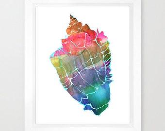SEASHELL #2  Art Print, beach, Ocean by SchatziBrown