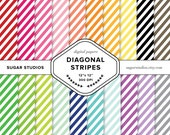 SALE Diagonal Stripes 20 Piece Digital Scrapbook Paper Mega Pack - Personal and Commercial Use - INSTANT DOWNLOAD