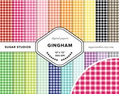 Gingham 20 Piece Digital Scrapbook Paper Mega Pack - Personal and Commercial Use - INSTANT DOWNLOAD