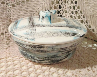 Vintage California Pottery Turquoise and Black Lidded Dish