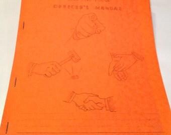 Masonic Oddfellows Shriner Fraternal Officer's Handbook National Reference Library