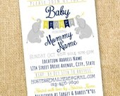 Little Elephants With Bunting Baby Shower invitation