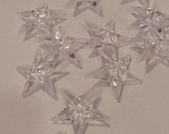 24 Large Acrylic Clear Star Christmas Ornament Wreath Center Pendant 3D