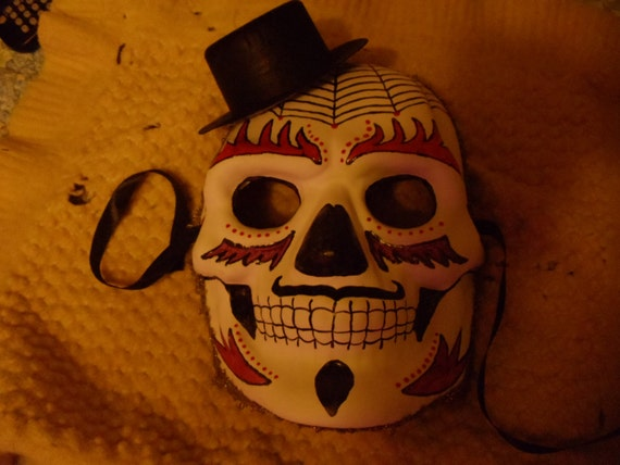 Male Day of the Dead Skull Mask by TheCelticCrow on Etsy