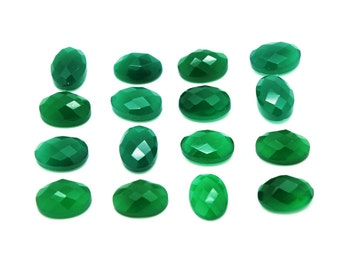 GCF-1027 - Green Onyx Cabochon - 10x14mm Oval - Gemstone Cabochon - Faceted Cabochon - 1 Pc