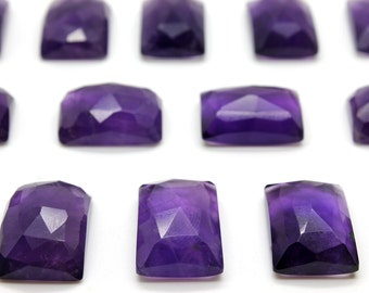 GCF-1302 - Purple Amethyst Faceted Cabochon - 13x18mm Rectangular - Gemstone Cabochon February Birthstone - AA Quality - 1 Pc