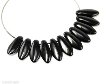 Black Daggers 12mm (40) Czech Glass Teardrop Beads last