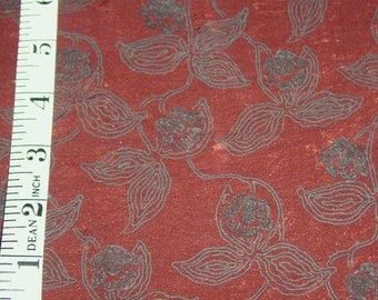 "Copper and grey printed floral polyester crinkled fabric - 63""- BTY"